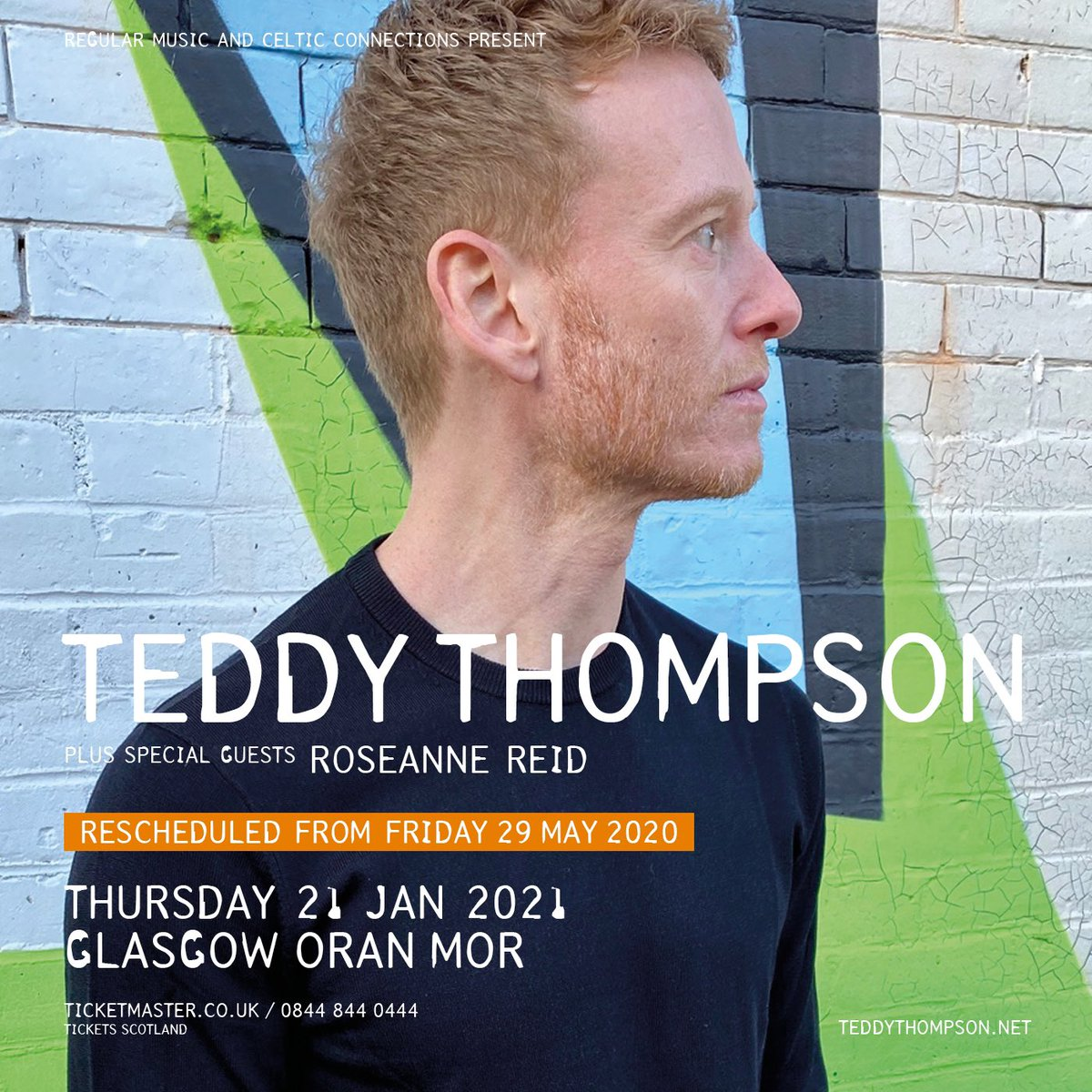RESCHEDULED SHOW/// @teddythompson at @OranMorGlasgow has been moved to Thursday 21 January 2021.   With special guest @roseanne_reid.  Original tickets remain valid.  As part of @ccfest. https://t.co/abScnC1oCC