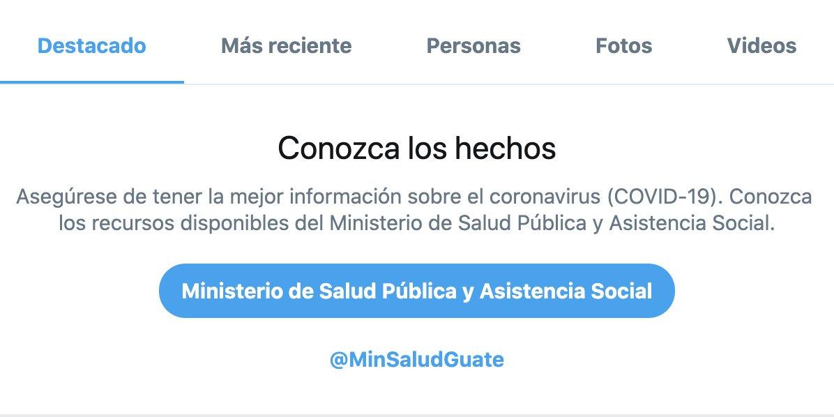 Nos complace compartir que ahora el aviso de búsqueda sobre COVID-19 también ha sido localizado en Guatemala, dirigiendo a las personas a los recursos de @MinSaludGuate.