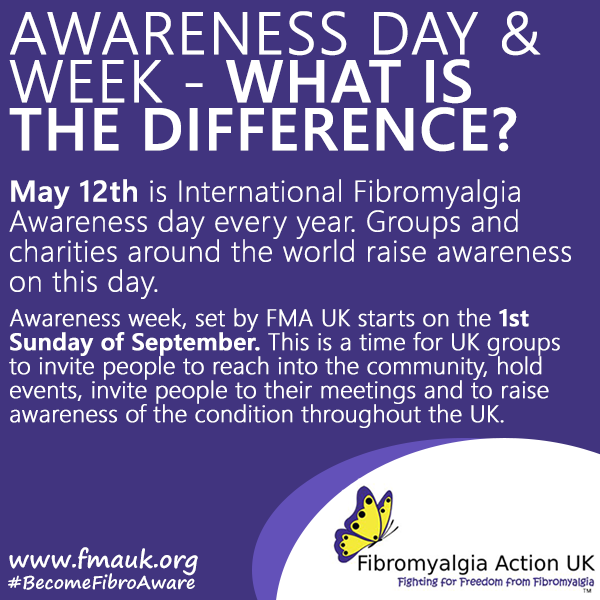 It's Fibromyalgia Awareness Day tomorrow.   So, what's the difference between that and awareness week? Our graphic below highlights this. 👇 https://t.co/rL3QE6YHR7