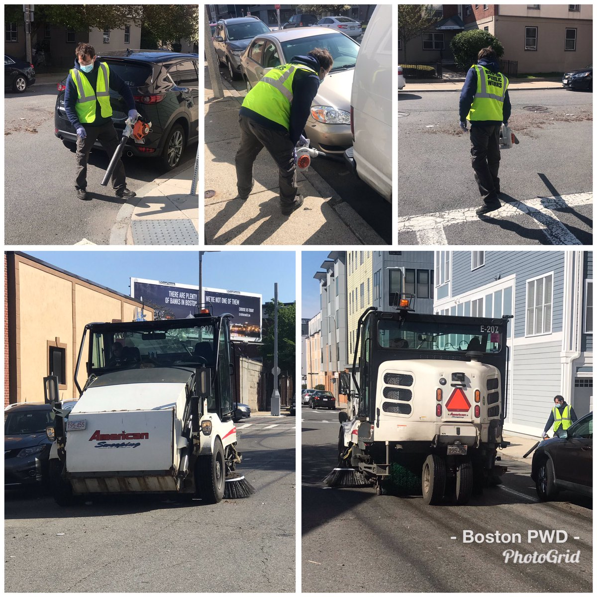 PWD's District 5 crew is busy this morning cleaning and sweeping litter on B Street in #SouthBoston.
