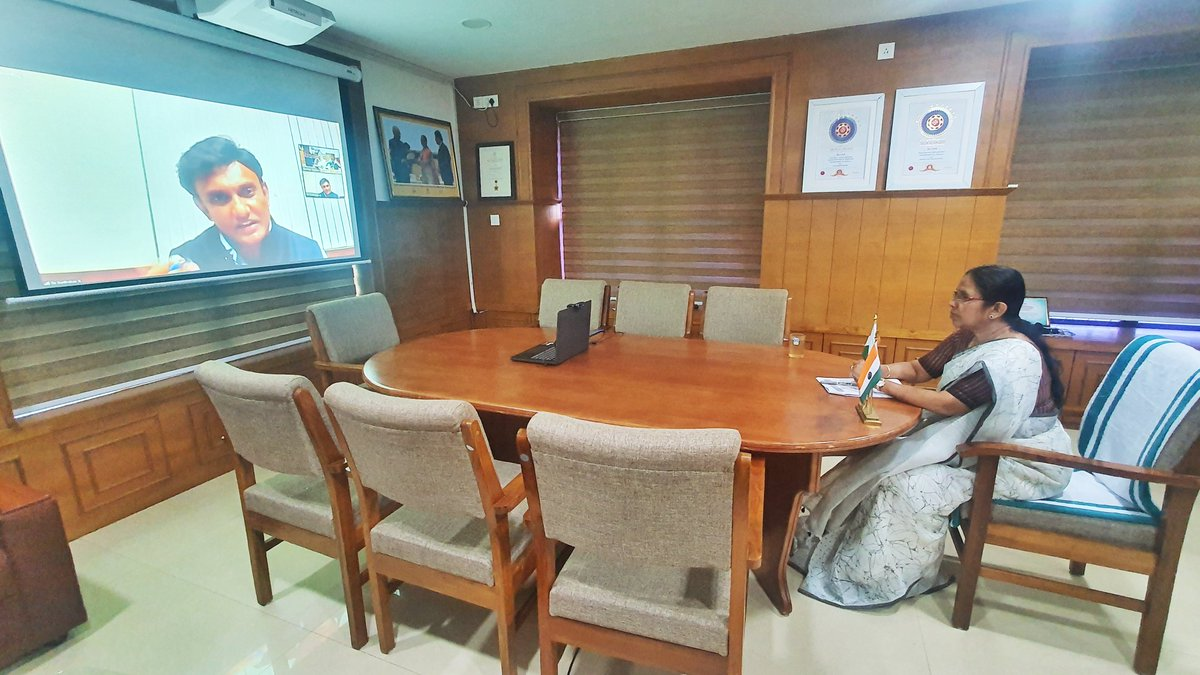Attended a video conference with Dr K Sudhakar, Karnatakas Minister for Medical Education regarding Keralas response to Covid 19. We discussed a range of points including testing, training, safety precautions, home quarantines, preparation of isolation wards and future actions.