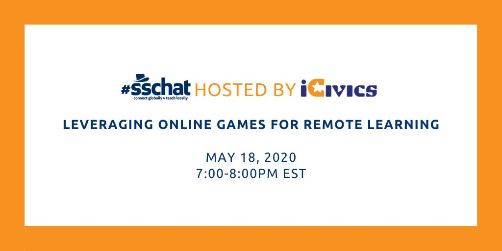 Next weeks #sschat features more veteran superstar guest hosts: @MomOfAllCapes & @aileenmcquillen from @icivics! Well talk about using all kinds of online games to make the most of our remote-learning situations. (Do the words died of dysentery mean anything to you?)