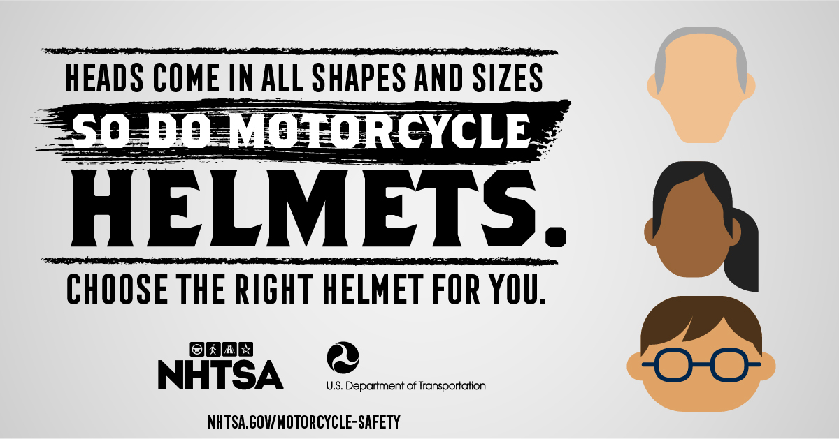 There's a right fit for everyone. #MotorcycleHelmets #MotorcycleAwareness