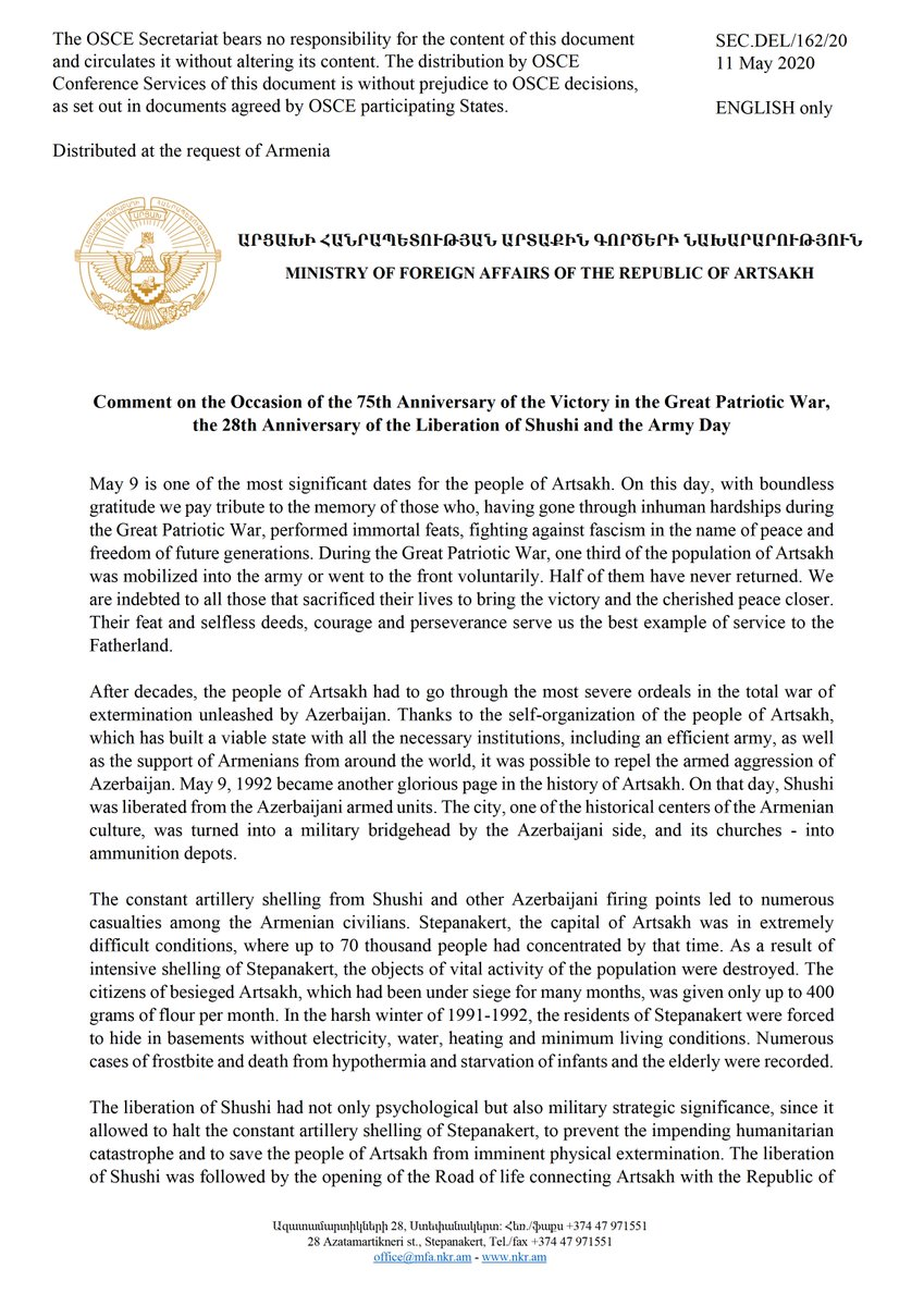 Document of the Republic of #Artsakh MFA on the Occasion of the 75th Anniversary of the Victory in the Great #PatrioticWar, the 28th Anniversary of the Liberation of #Shushi and the Army Day was disseminated in @OSCE.   http://www.nkr.am/en/news/2020-05-09/MFA-comment …pic.twitter.com/aBfFnvEfXw