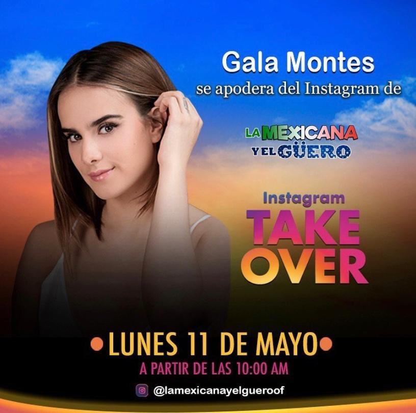 Todo el día @GalaMontes2 se apodera de la cuenta de Instagram de #LaMexicanaYElGuero. https://t.co/iSioGqA4lu