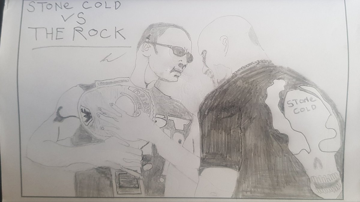 Today a classic image Ft. @TheRock and @steveaustinBSR from the build up to @WWE WrestleMania 17. Best rivalry of all time ✍💀😎 #MondayMotivation #art #drawing #THEROCK #dwaynejohnson #sevenbucksproductions #stonecold #steveaustin #WWE #WrestleMania #requests #wewillmeetagain