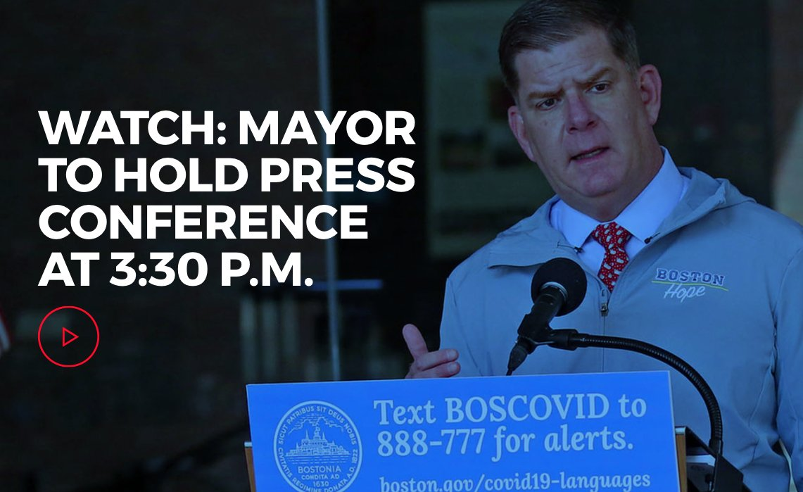 Mayor @marty_walsh will hold a #coronavirus #COVID19 press conference at 3:30 p.m. ow.ly/gWGz50zCXXD
