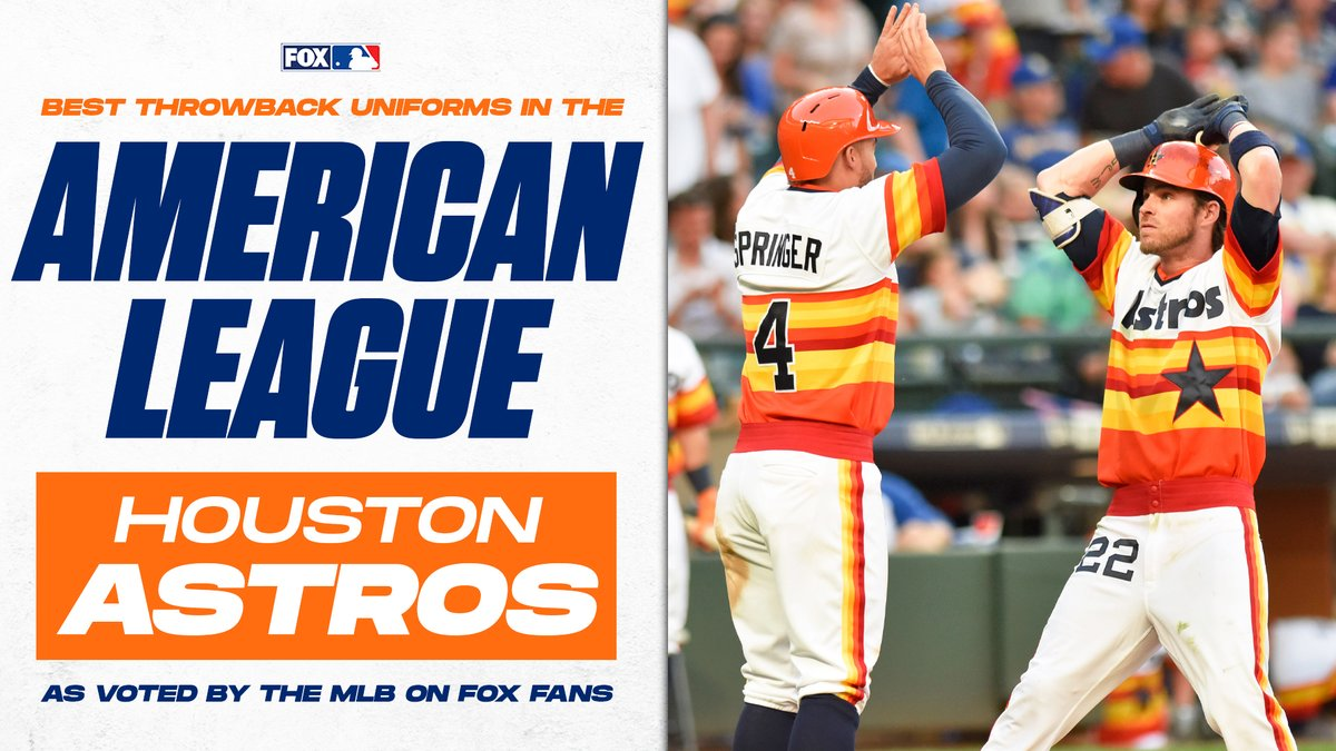 The votes are in!  According to the MLB on FOX fans, the @astros have the best throwback uniforms in the American League! https://t.co/QhBjVYfTx6