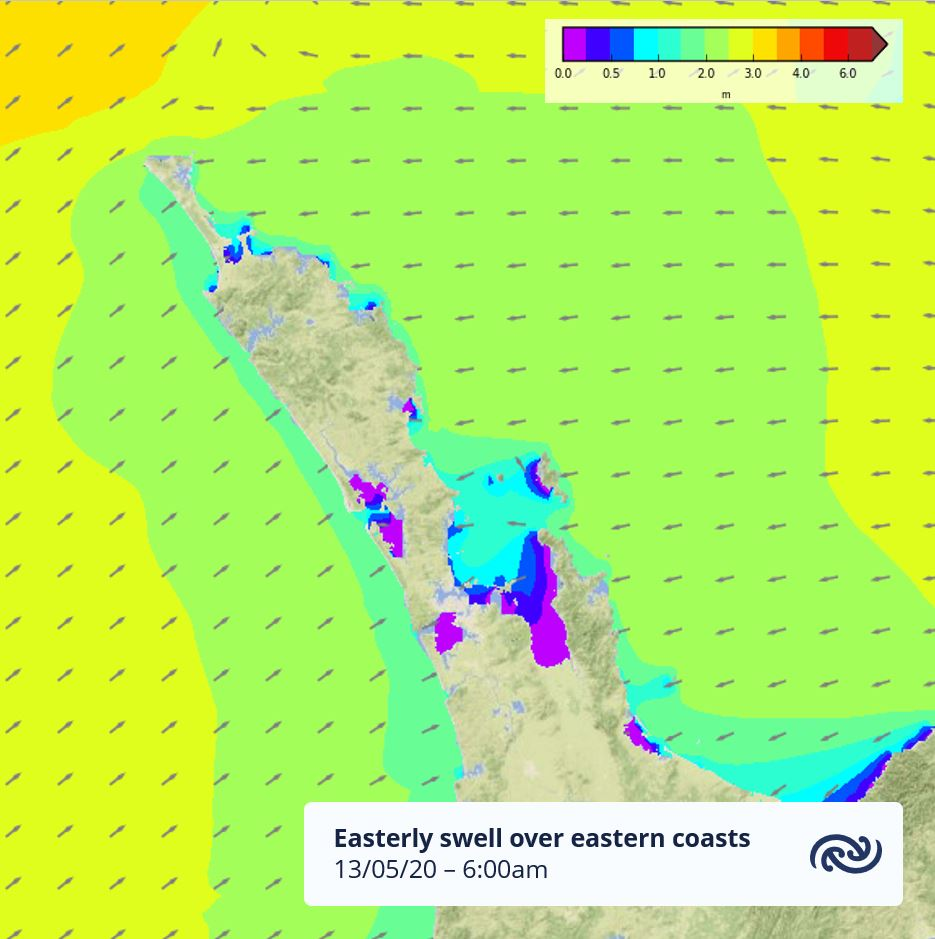 The combination of 2m easterly swell & strong onshore winds means eastern coasts of Northland will see higher than usual waves around high tide. Take extra care tomorrow if you're around the coast. For more info check the Bay of Islands marine forecast metservice.com ^AC