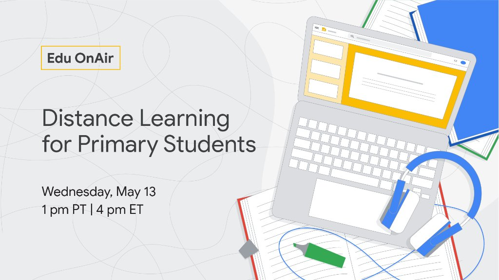 Join @MsMagiera and @MrsLeonardK as they discuss strategies and best practices around #RemoteTeaching for young learners in this #EduOnAir webinar: goo.gle/2WAeJoF
