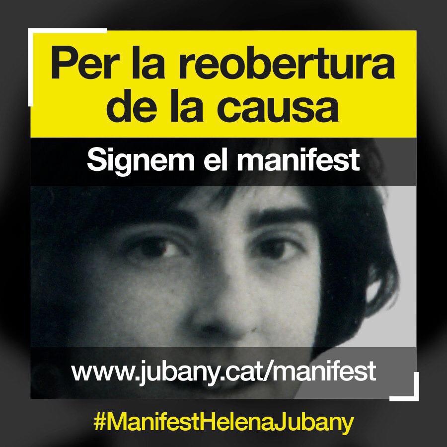"""Encara no has signat el """"Manifest sabadellenc per la justícia i la veritat: per la reobertura de la causa de l'assassinat de #HelenaJubany""""? L'impulsa gent de #Sabadell indignada pel sobresseiment del crim. Clica https://t.co/bSz89m67mU i signa! #ManifestHelenaJubany https://t.co/PVjmlWpuYX"""