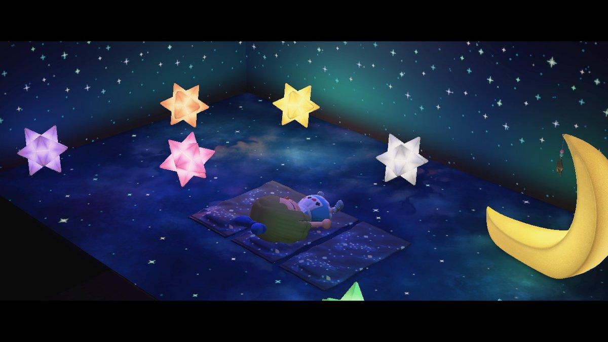 プラネタリウムで寝そべられるよう、ビーチタオルのリメイクで銀河系の床に馴染むデザインを作りました。遊園地の宇宙エリア等にもどうぞ!(画像は砂浜の床使用)#マイデザイン #mydesign #space #どうぶつの森 #AnimalCrossing #ACNH