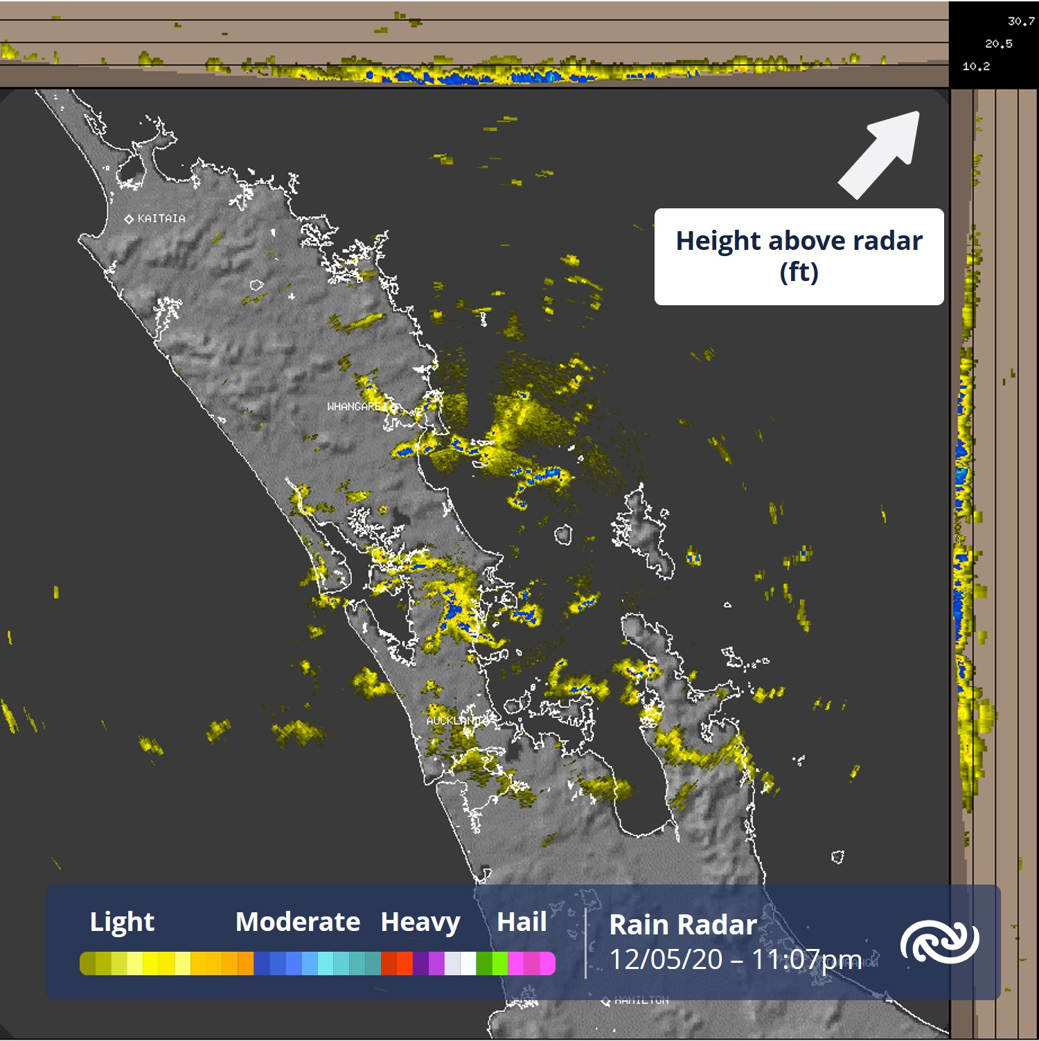 How 'heavy' a shower will be depends a lot on how 'tall' the cloud (and uplift) producing the shower is. The scale in the radar image is one of the tools that help us meteorologists know that showers currently over the Auckland region are light as they are 'short' or 'squat'. ^AC