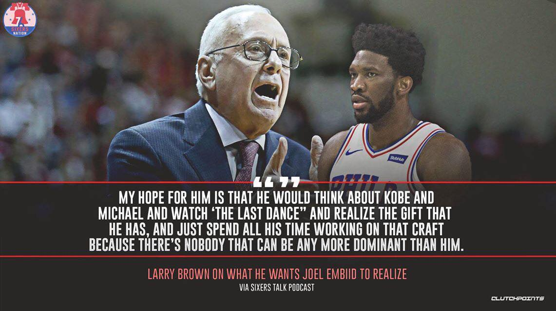 Larry Brown sees even more potential in Joel Embiid's game. 👌💪 https://t.co/maxAyJWuPa