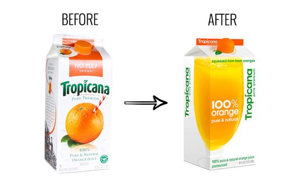 アメリカを代表するオレンジジュースを作っているTropicanaの2009年リブランディングの失敗例を紹介 $35M...