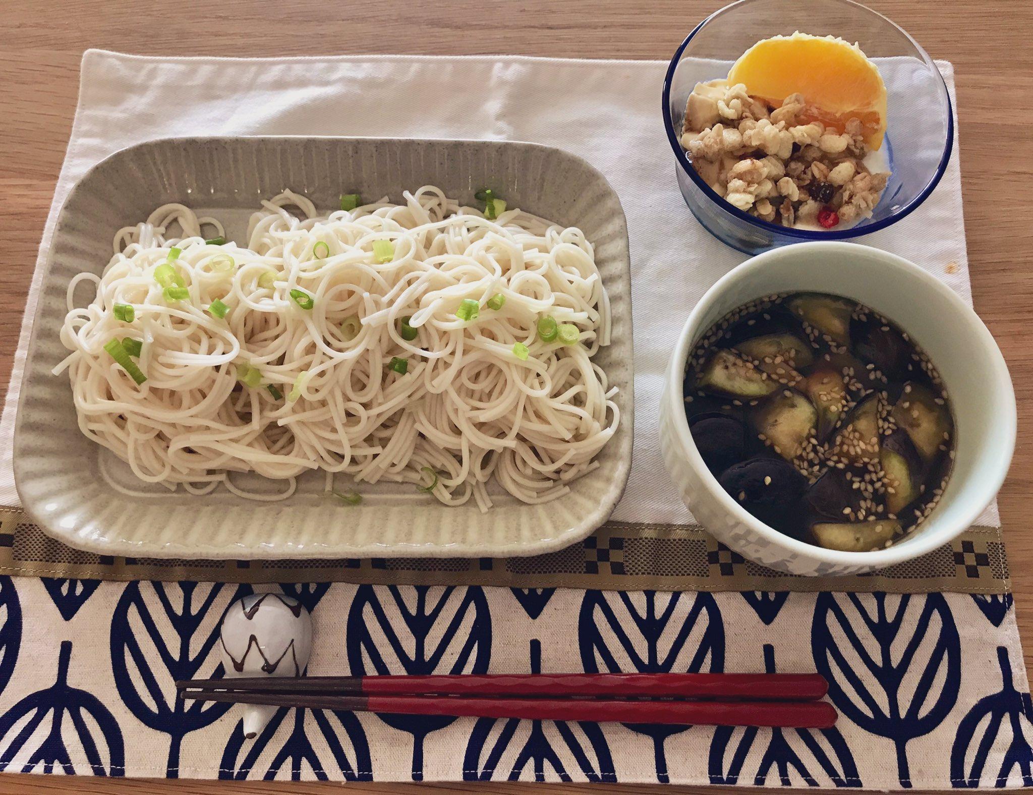 おりえさんのレシピで茄子とベーコン(ツナがなかったので)のつけだれ素麺を作ってみた!美味しい〜。 こらから素麺が美味しい季節なので山形だし風も作ってみたい