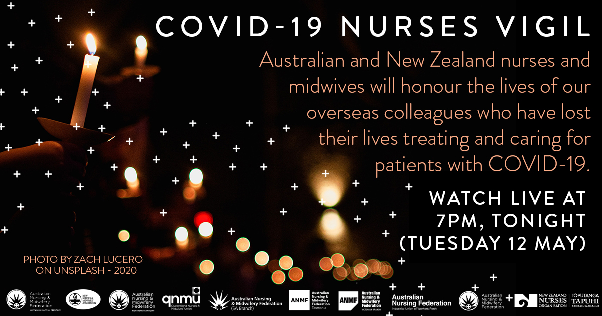 Today on International Nurses Day #IND2020, join us in honouring nurses ard the world who have lost their lives treating & caring for #COVID19 patients bit.ly/2LjGUTN An online candlelight vigil will be broadcast LIVE 7pm AEST tonight via Facebook facebook.com/qnmuofficial