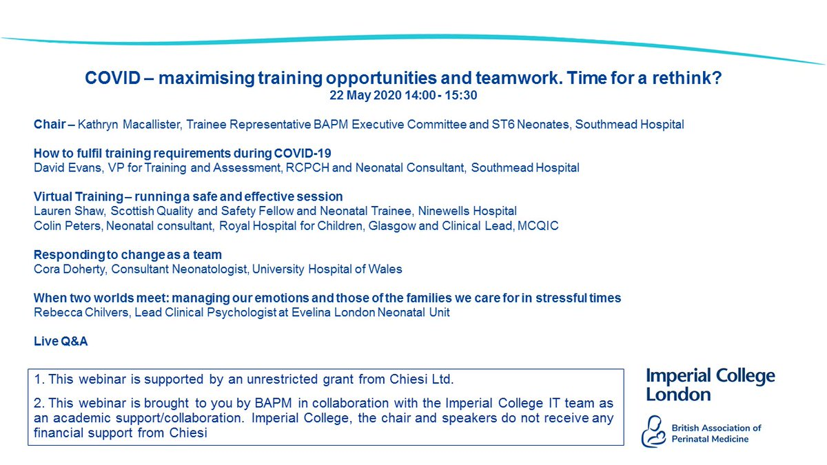 **SAVE THE DATE** 22nd May at 2pm - Our next webinar will on maximising training opportunities and teamwork during #COVID19.  Booking will open soon, here's the fantastic programme.  @RCPCH_TA @Laurenz0722 @DrCBattersby @colinpeters20 @Neonatalpsych https://t.co/tfigFltOB7