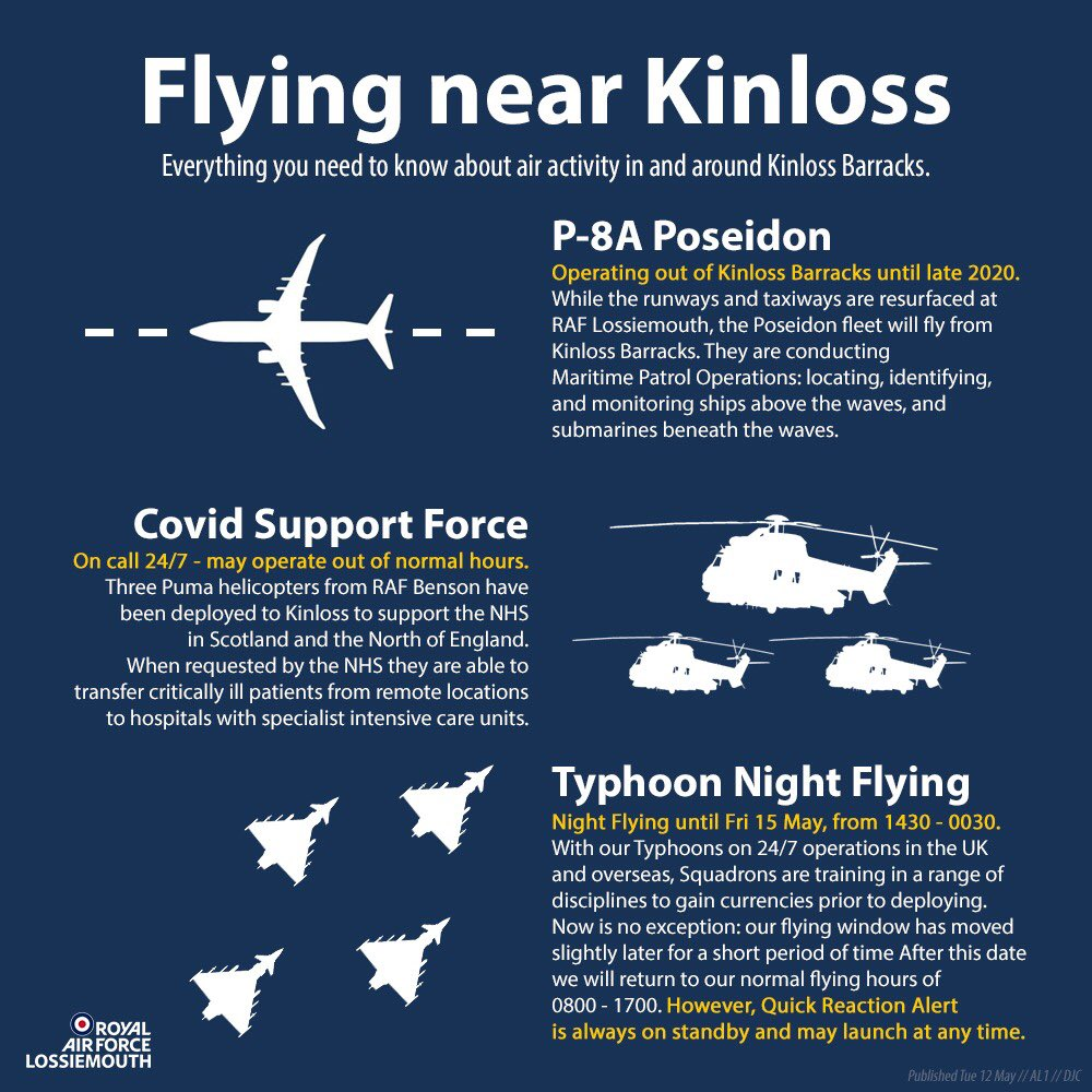 Kinloss Barracks works in partnership with @RAFLossiemouth as they carry out vital work #SecuringTheSkies and in support of our NHS.   Interested in the current activities on site? This notice tells you all.   #InThisTogether https://t.co/Y99EJhl8J7