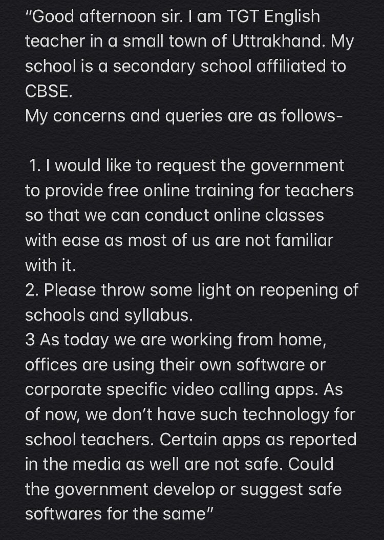 #EducationMinisterGoesLive  Good afternoon sir, My mother is a TGT. She is not on twitter therefore I'm posting on behalf of her. She asks-pic.twitter.com/aN7sWv56nv
