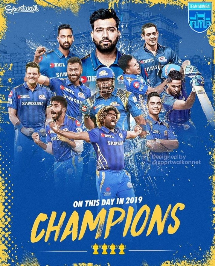 On this day in 2019, #MI won 4th #IPLTrophies 🏆🏆🏆🏆 and created history. #MI also became the most successful team of @IPL. #MI #RohitSharma #VIVOIPL2019 @ImRo45 @mipaltan  @StarSportsIndia https://t.co/Dl3IVMnpKG