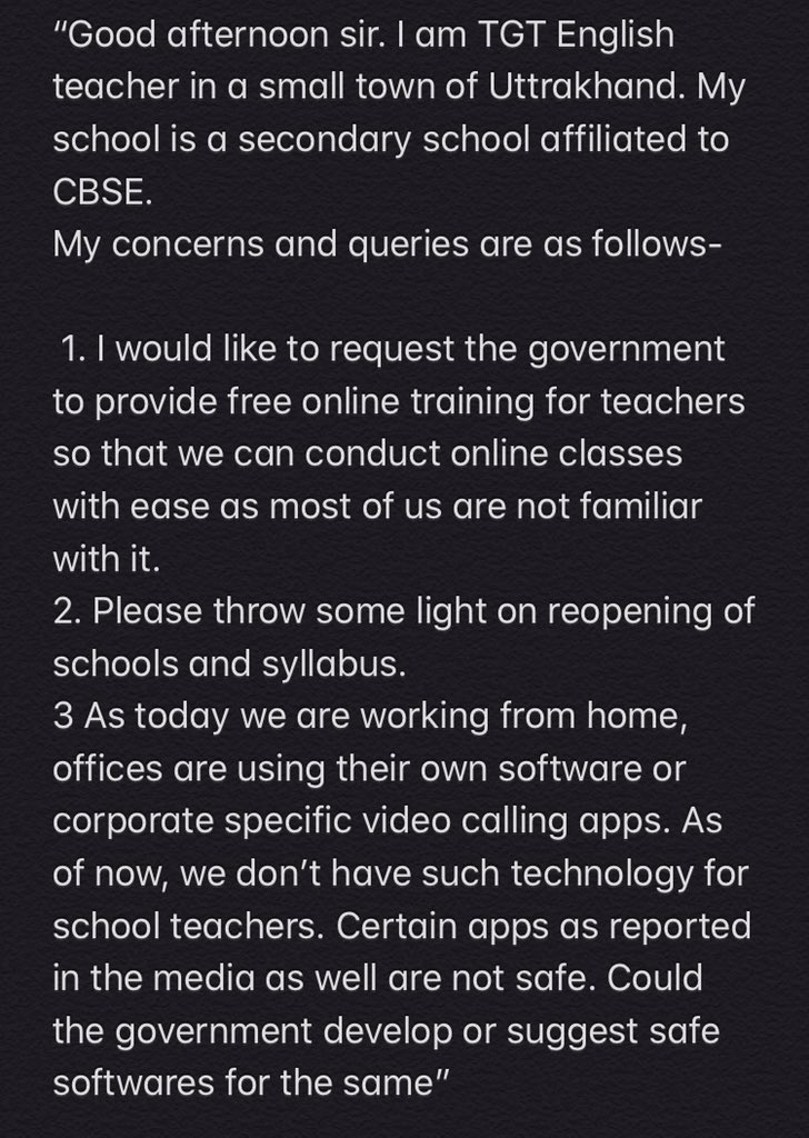 #EducationMinisterGoesLive   Good afternoon sir, My mother is a TGT. She is not on twitter therefore I'm posting on behalf of her. She asks-pic.twitter.com/wS77DP0Lx9