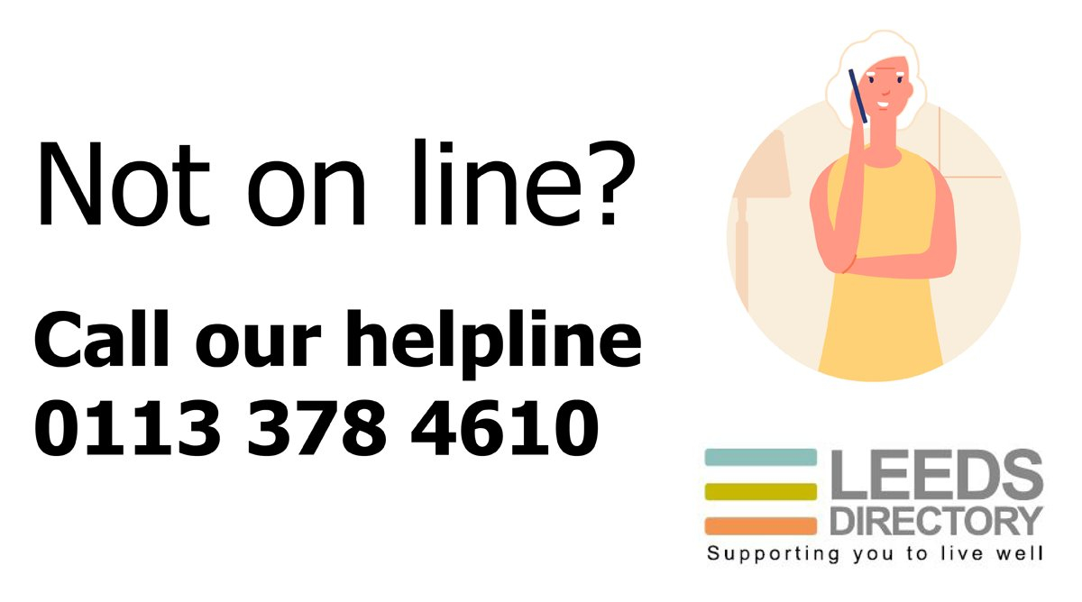 Clients not on line? Leeds City Council's Leeds Directory helpline is open Mon to Fri 9 to 5 0113 3784610 or check out our listings for support for home independence LeedsDirectory.org #UseLeedsDirectory#StayHomeSaveLives bit.ly/2xZ59TS