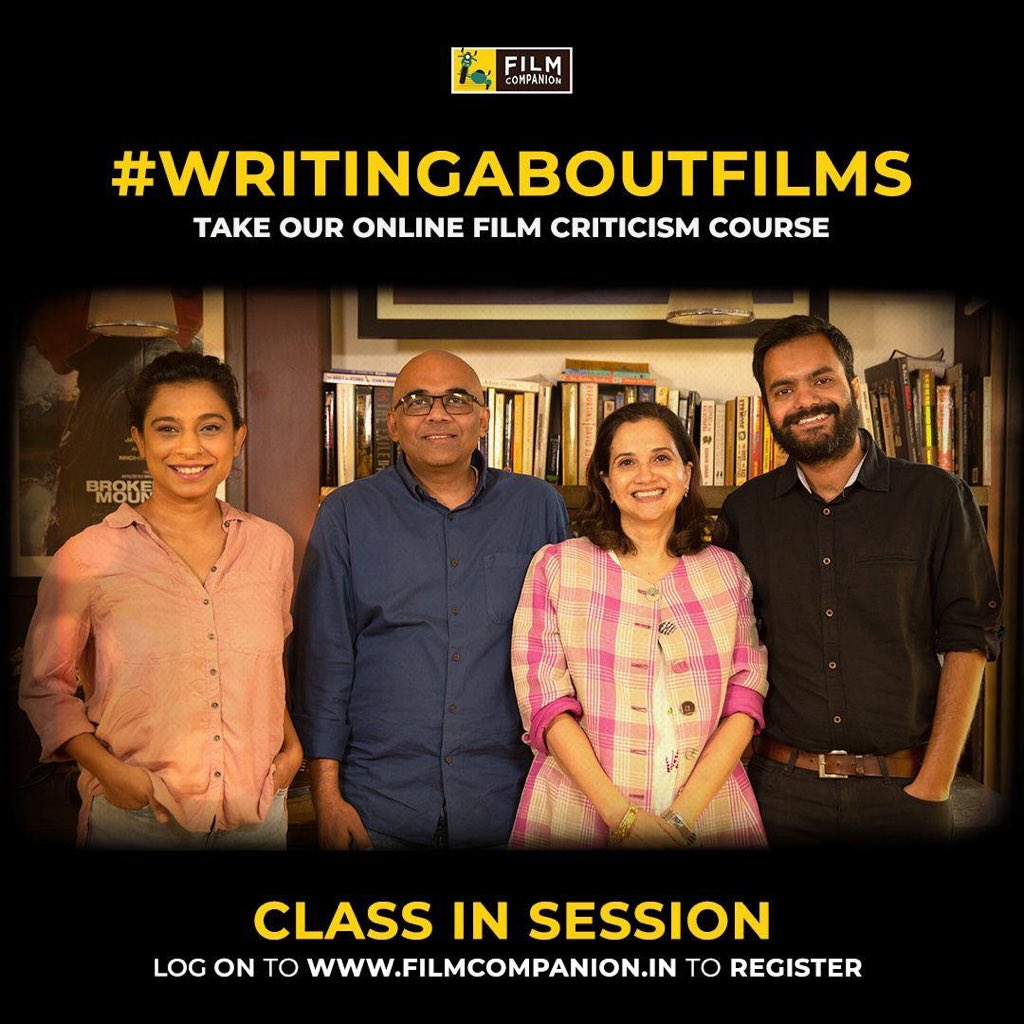 Introducing #ClassInSession e-learning courses by @FilmCompanion. Starting with the first module on film criticism - #WritingAboutFilms taught by the well known film critics @anupamachopra , @baradwajrangan , @Su4ita and @ReelReptile  Register now: https://t.co/7bYFPnSYj5 https://t.co/QAWONP3eay