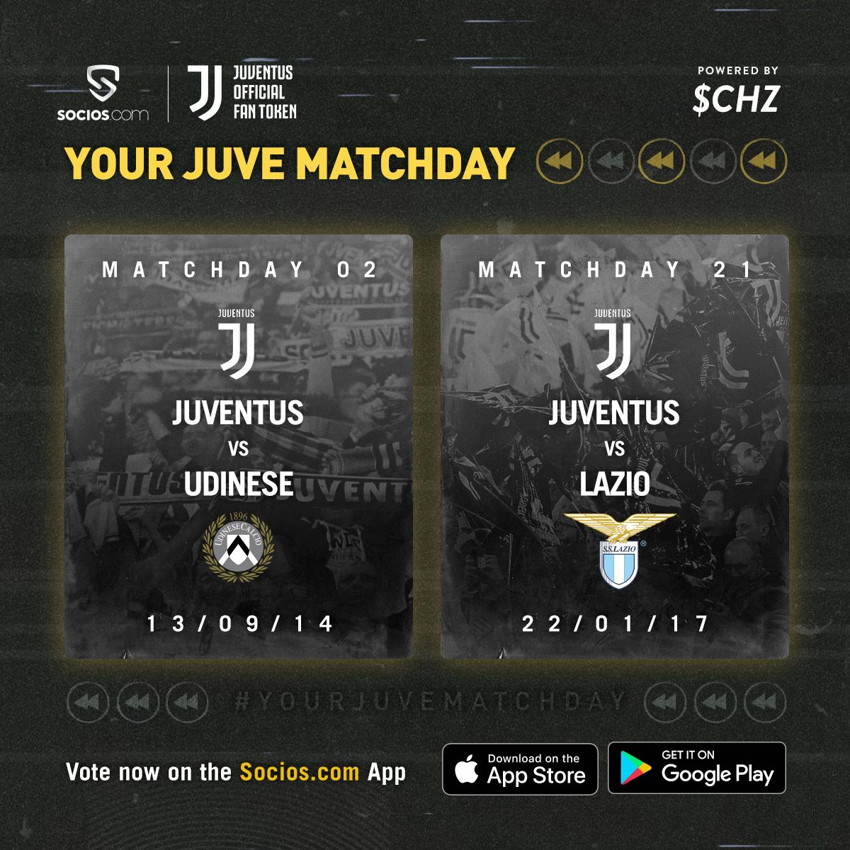 Udinese o Lazio? 🤔 Che partita scegliete per il #YourJuveMatchday di mercoledì sera? Votate con lapp di @socios 🗳 bit.ly/SociosJuve 📌 La più votata in diretta Facebook mercoledì alle 20:45