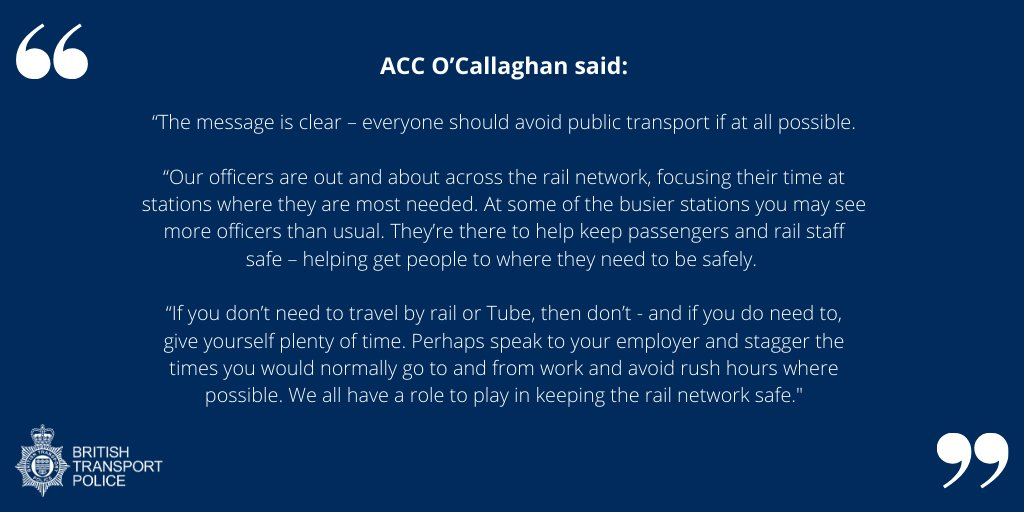 """The message is clear – everyone should avoid public transport if at all possible.   ""Our officers are out and about across the rail network, focusing their time at stations where they are most needed. A message from ACC Sean OCallaghan."