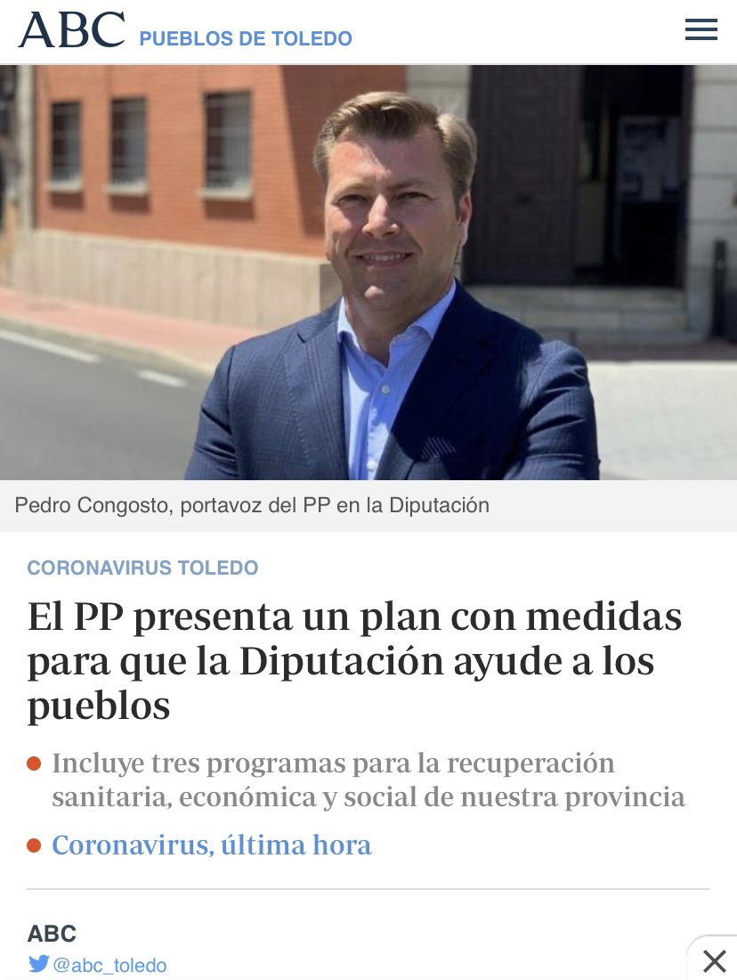 EL PP PRESENTA UN PLAN CON MEDIDAS PARA QUE LA DIPUTACIÓN AYUDE A LOS PUEBLOS    «Programa #Empléate»    «Programa #Personas»    «Programa  #Provincia de #Toledo»  https://www.google.com/amp/s/www.abc.es/espana/castilla-la-mancha/toledo/pueblos/abci-coronavirus-toledo-pp-presenta-plan-medidas-para-diputacion-ayude-pueblos-202005112132_noticia_amp.html… pic.twitter.com/EouzP1uZID – at Diputación de Toledo