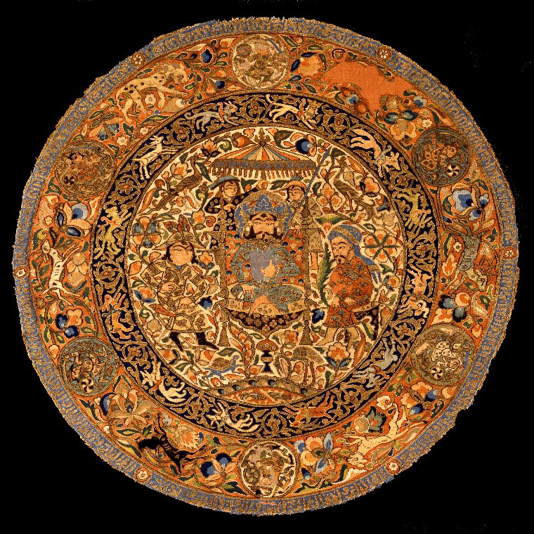 Something different for today's #MuseumsUnlocked (visiting the Nordic countries), a favourite from the David Collection in Copenhagen: a 14th c. tapestry roundel, probably from Iran, depicting an enthroned ruler figure, woven using 20 colours of silk, as well as gold thread. https://t.co/nwqlERntT4