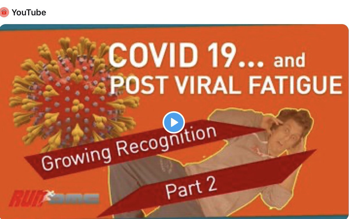 ALL thks to @ECHAlliance-I got a mention from this post-Covid 'fatigue' patient fascinating video.  Made contact so my link he couldn't find is now included in refs on YouTube  I pity them COVID-19 and Post Viral Fatigue: Growing Recognition https://youtu.be/6kWZEA6On9U  via @YouTubepic.twitter.com/0DYsg5ltS0