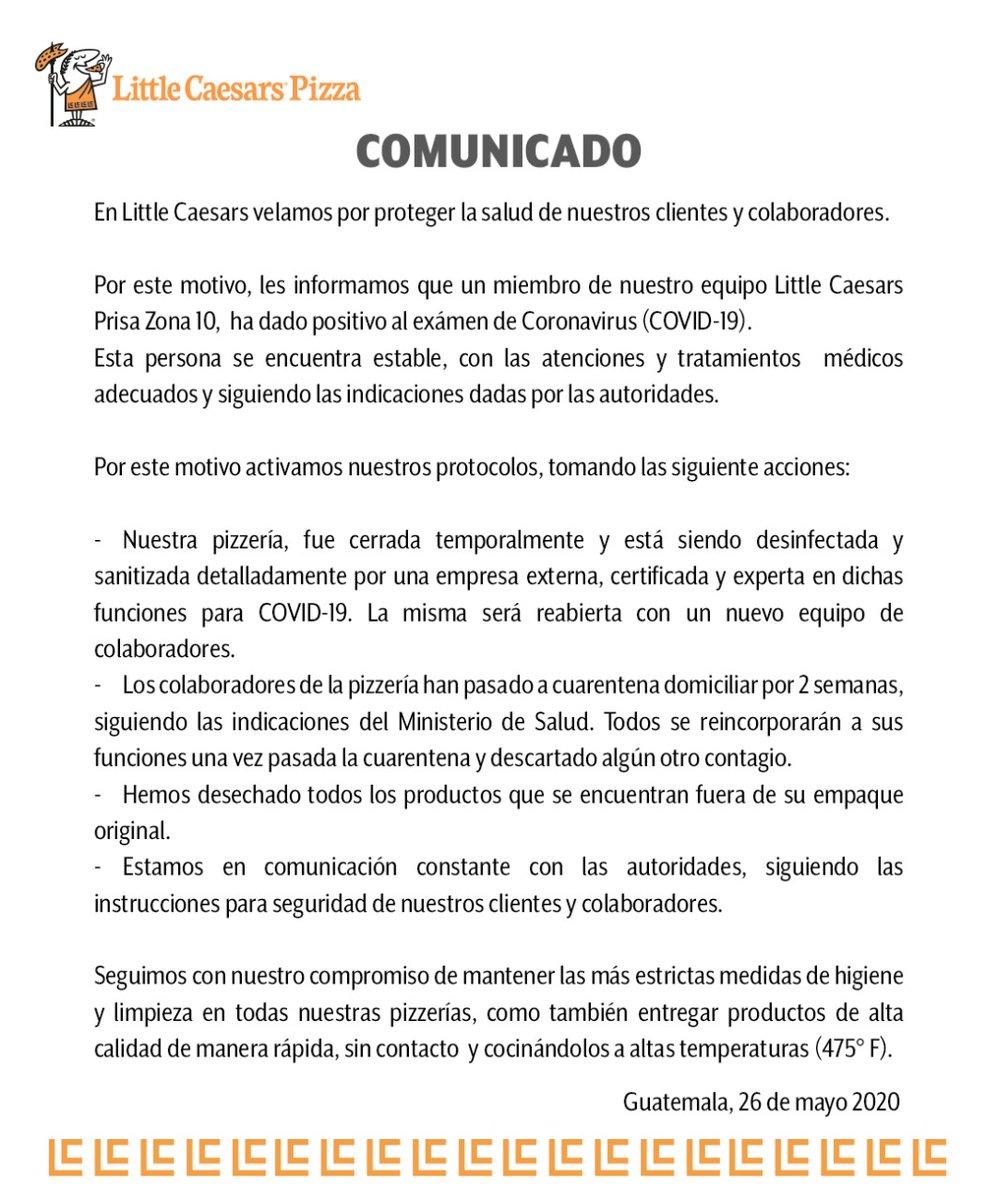 test Twitter Media - Little Caersars confirma caso de COVID-19, el trabajador corresponde a la sucursal de Prisa, en zona 10. https://t.co/cZMOSsKvVd