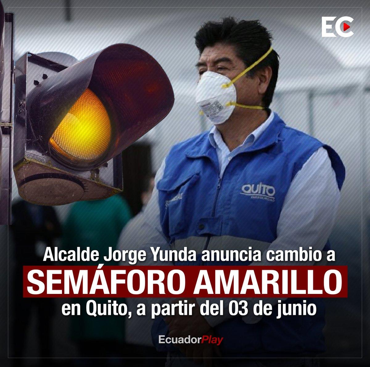 """El alcalde de #Quito, Jorge Yunda, informó que en 8 días se cambiará el color del semáforo a amarillo, """"hemos decidido mantener el semáforo rojo y solicitar transición a amarillo en 8 días basados en criterios científicos, y precautelando el bien de la ciudad. No al cara o sello"""" https://t.co/qKJOJdodo0"""