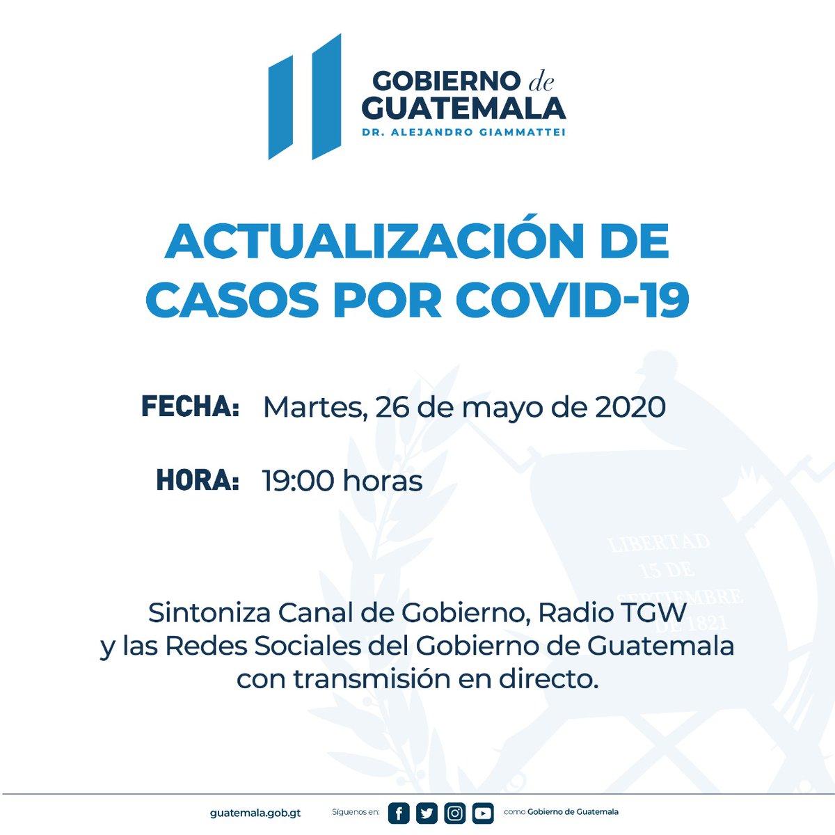 test Twitter Media - El Gobierno de Guatemala anuncia para hoy a las 19:00 la actualización de casos por COVID-19. https://t.co/FZZNKAMCxs