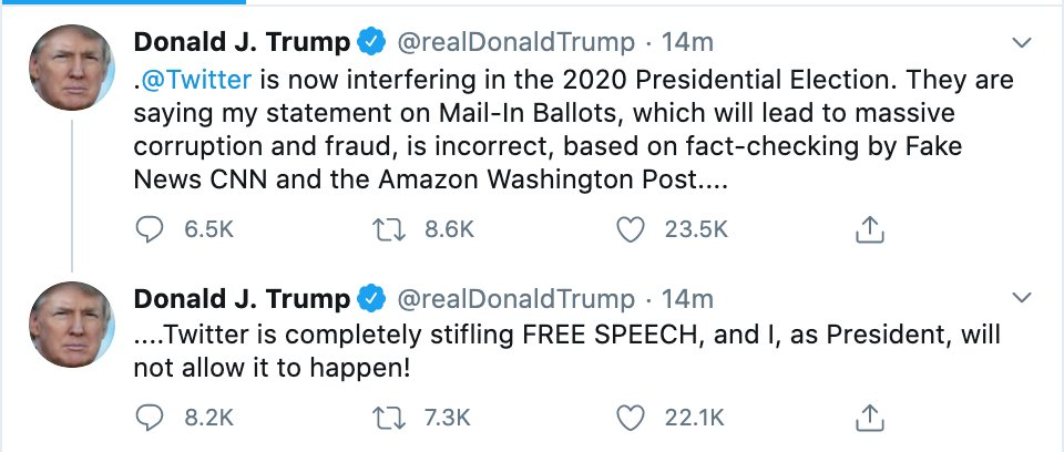 Citizens United ruled that corporations have the same free speech rights as anyone else. This is Twitters free speech, and Big Government cant trample on their constitutional rights.** **Note that this used to be a conservative position, like, in 2016.