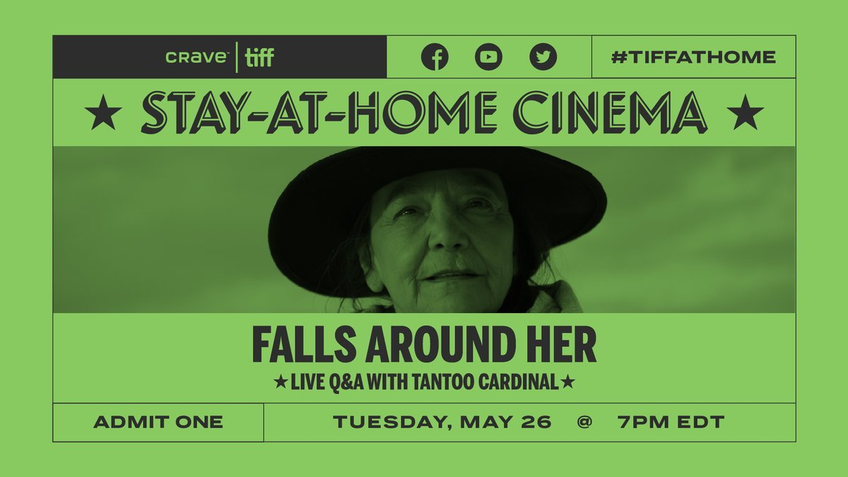 Tonight, legendary Cree and Métis actor/activist @TantooC will join @Cameron_TIFF for a live Q&A about #TIFF18 film FALLS AROUND HER. #TIFFAtHome #CravexTIFF