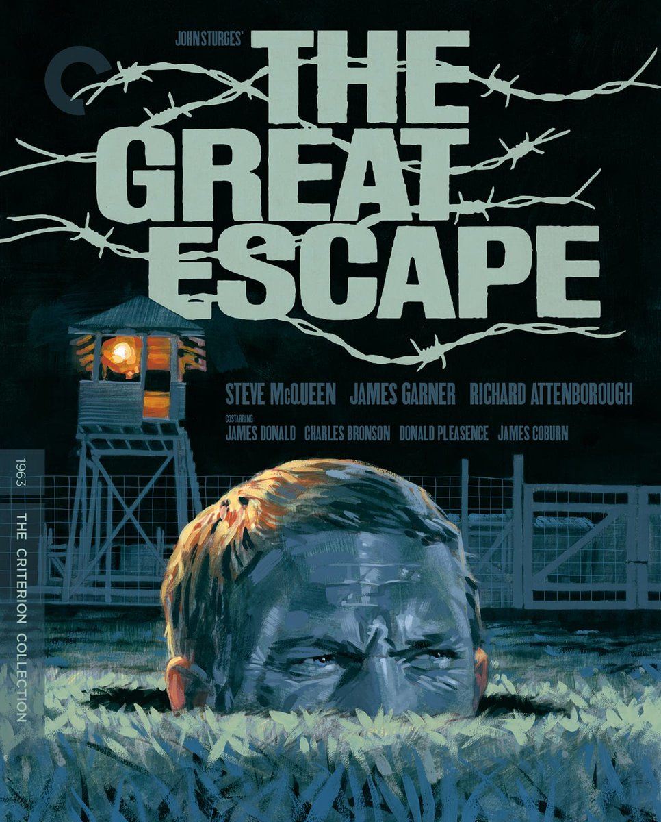 THE GREAT ESCAPE (1963) is now on Blu-ray from @Criterion in a new 4K transfer w/ a 2003 commentary track by James Garner, James Coburn and Donald Pleasence! And this gorgeous box art 😍 criterion.com/films/29149-th… cc @MavrocksGirl