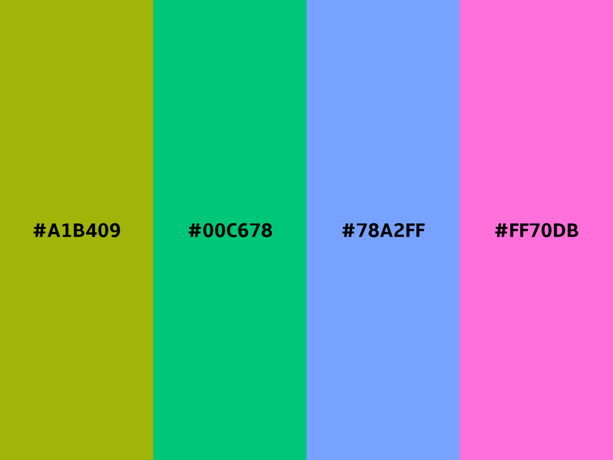 Have a look at the rectangle harmony for the color #A1B409. View this palette as CSS Gradient 🌈  or as CSS text shadow 🔧  #color #palette #CSS