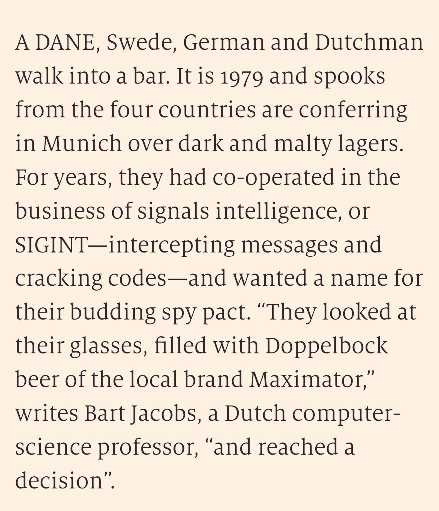 A short piece in @TheEconomist on the Maximator signals-intelligence alliance between Denmark, Germany, Sweden, the Netherlands and France. Formed in the 1970s, active today—and described in public for the first time last month. economist.com/europe/2020/05…