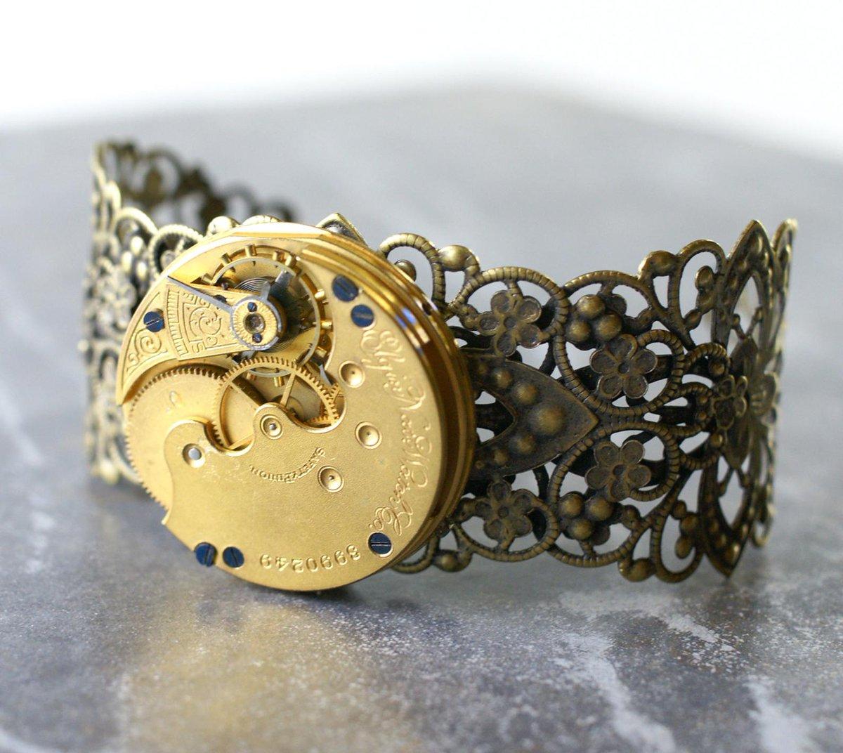 Steampunk Re-purposed Bracelet Vintage Pocket Watch Movement Jewelry Precious Metals Elgin National Wrist Adornment     #bracelet #steampunk #jewelry #watch #movement #Etsy #Gold #Metal #Precious #Jewels
