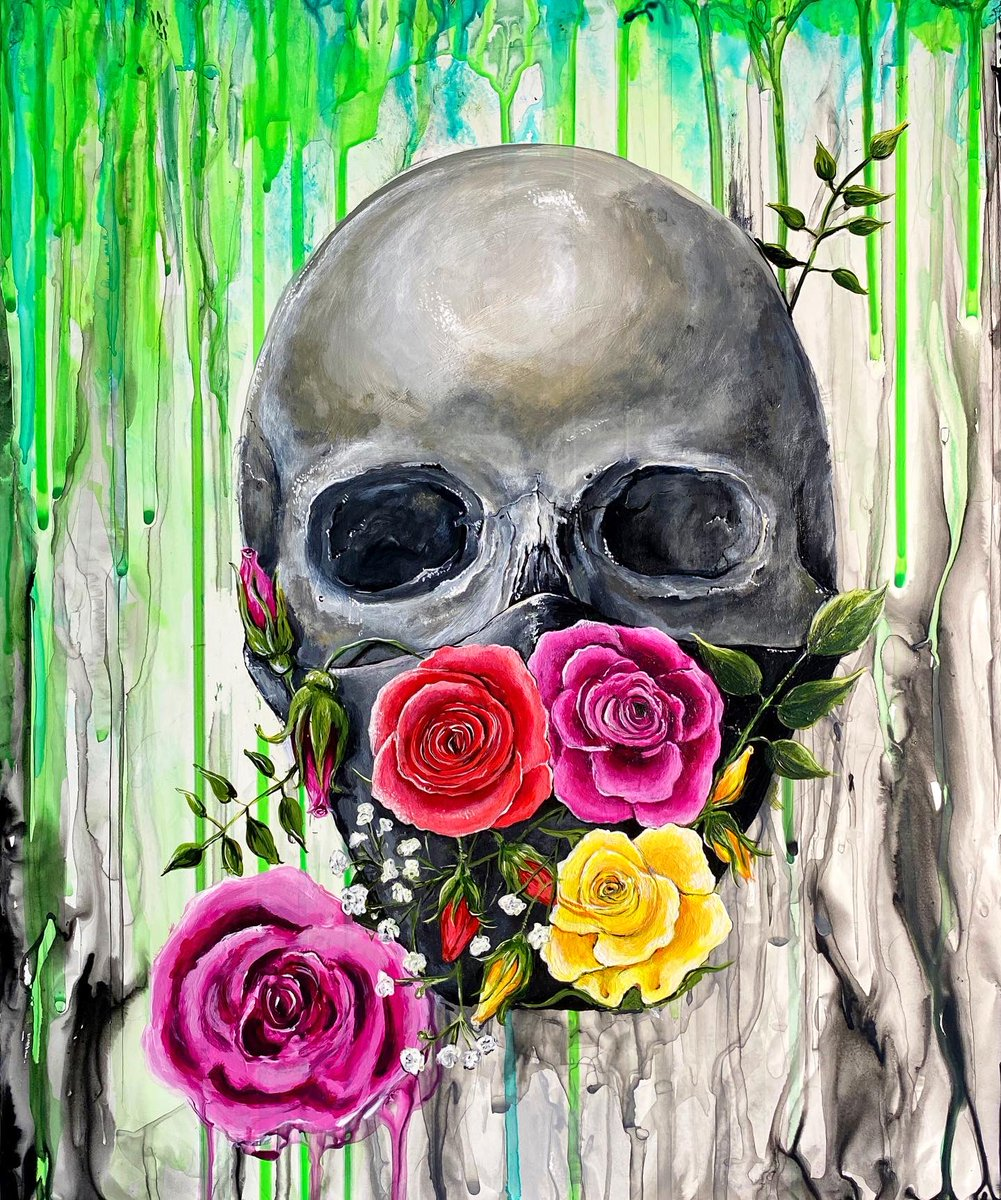 Respectfully Dead   Acrylic painting on canvas panel/2020 #acrylicpainting #skullartpic.twitter.com/Y7a6nVS7o3