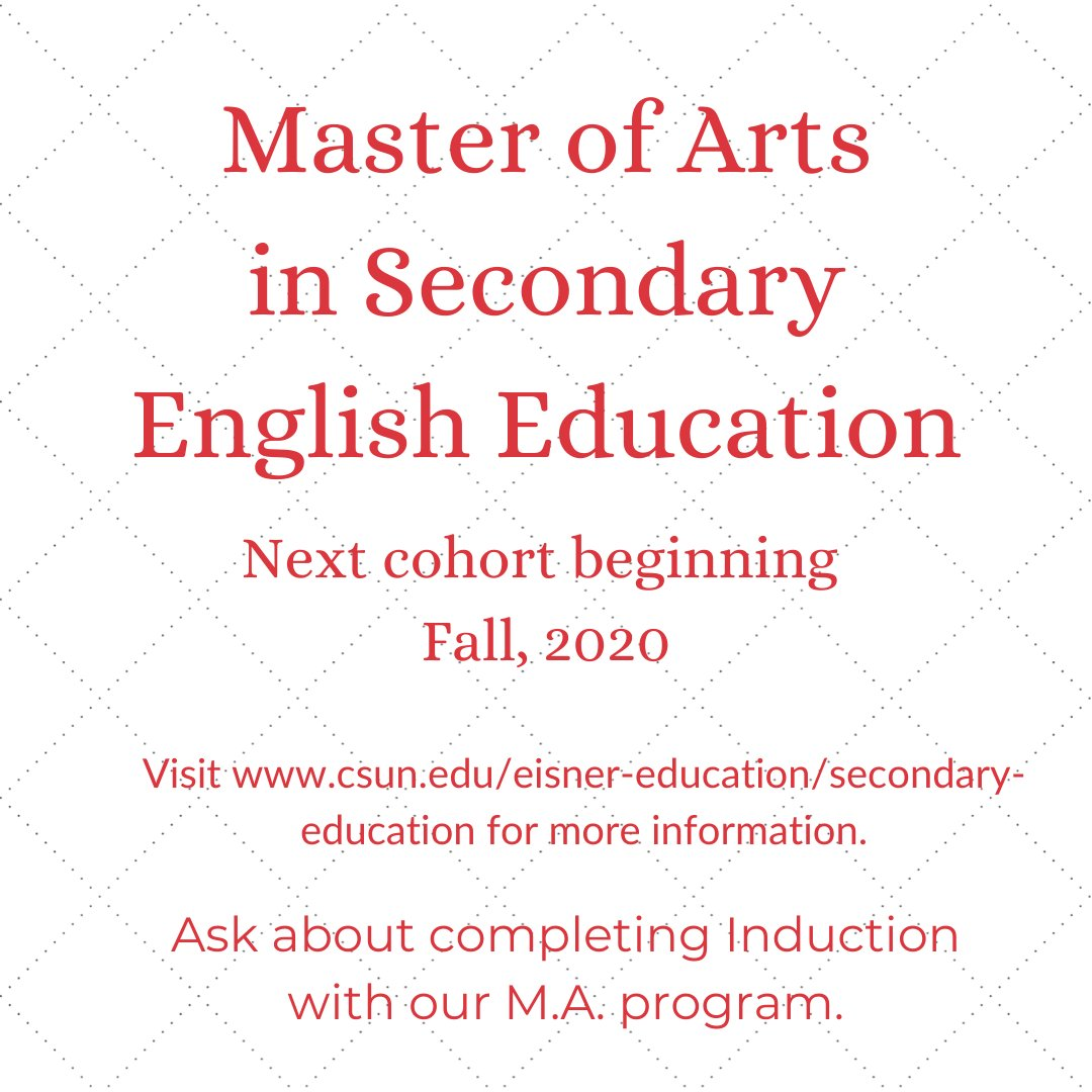 Making plans for the fall? Now might be the time to earn your M.A. in English Education! Accepting applications now through July 1st. Visit  for more information. #education #alwayslearning