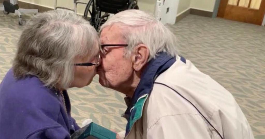 Couple married for 70 years reunited after months apart due to coronavirus restrictions cbsn.ws/2TFC5IY
