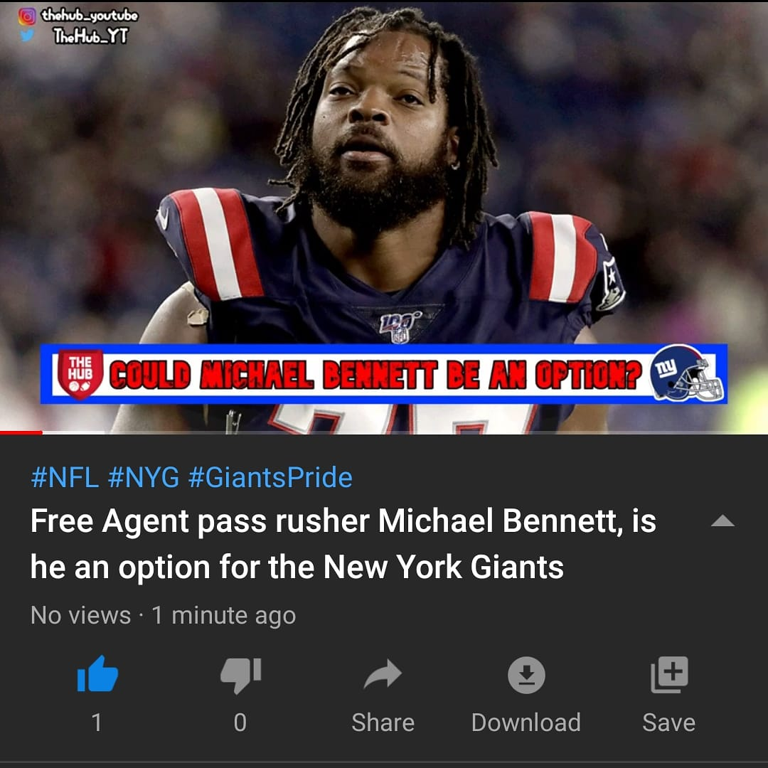 Another free agent pass rusher still on the market is former #Seahawks DE Michael Bennett. Should the #Giants look into him https://youtu.be/_bVQu9R8JTM   #nfloffseason #NFL #nyg2020 #nygiants #nyg #GiantsPridepic.twitter.com/222dSuha0E