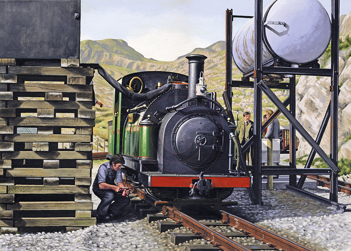 Im snowed under working on a large railway project, announcement soon! In the meantime heres an old painting of Prince at Tanygrisiau on the Ffestiniog Railway in the early 80s. #Ffestiniog #railways #trains #illustration #art