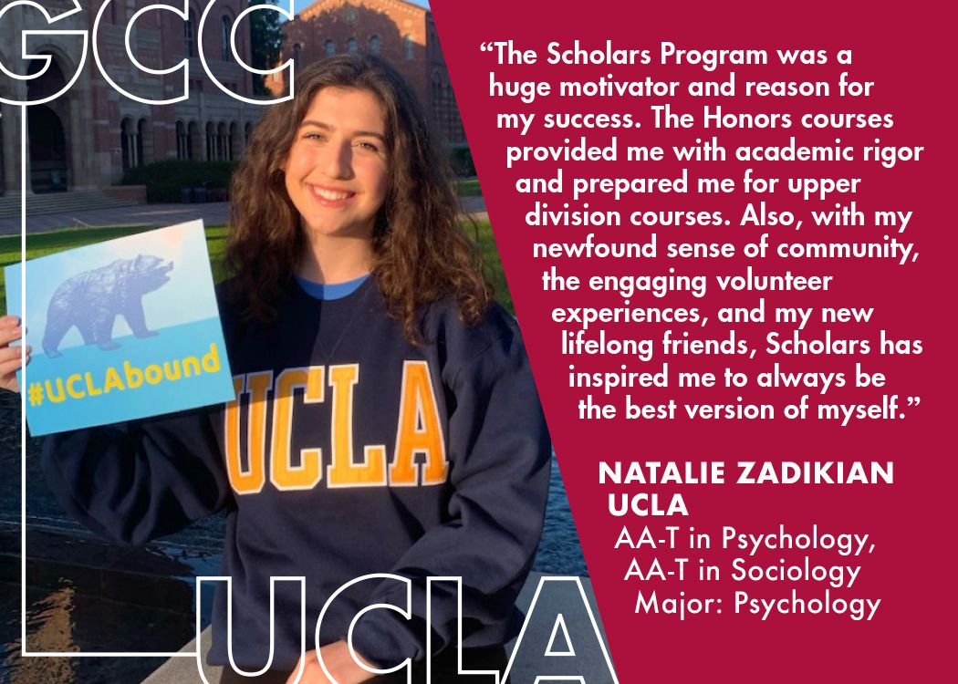Congratulations, Natalie Zadikian who is transferring to UCLA where she will be majoring in Psychology! At GCC, she has earned an AA-T in Psychology and Sociology.  To read Natalie's story, please visit https://t.co/0ARKWNlTvN  #GoVaqs #TransferTuesdays #UCLAbound #uclatransfers https://t.co/erms2piNGK