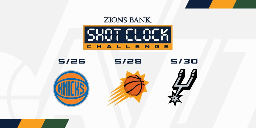 Download the Utah Jazz app and help us take down these three opponents this week 🏀  #ShotClockChallenge | @ZionsBank https://t.co/RqmkqtINmo