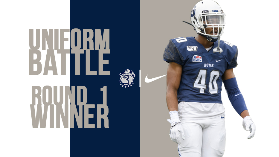Moving On!! The White / Blue / White combo, which the #Hoyas wore against Catholic, is moving on to the finals! Tune in tomorrow for the 2nd semifinal in our #UniformBattle! #HoyaSaxa #DefendtheDistrict @UNISWAG